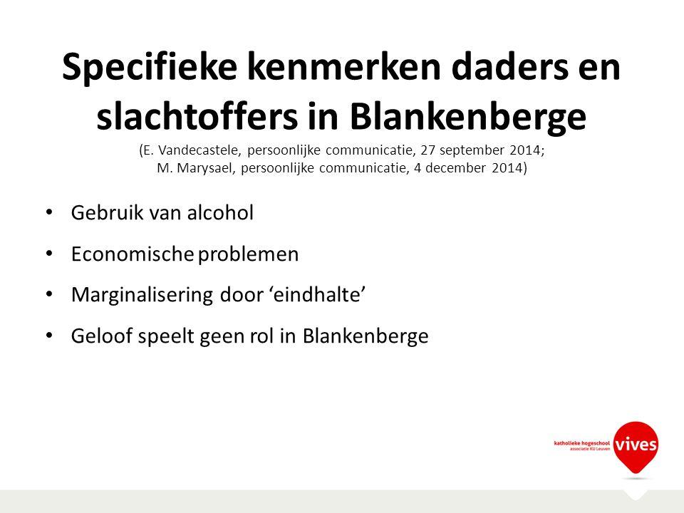 Specifieke kenmerken daders en slachtoffers in Blankenberge