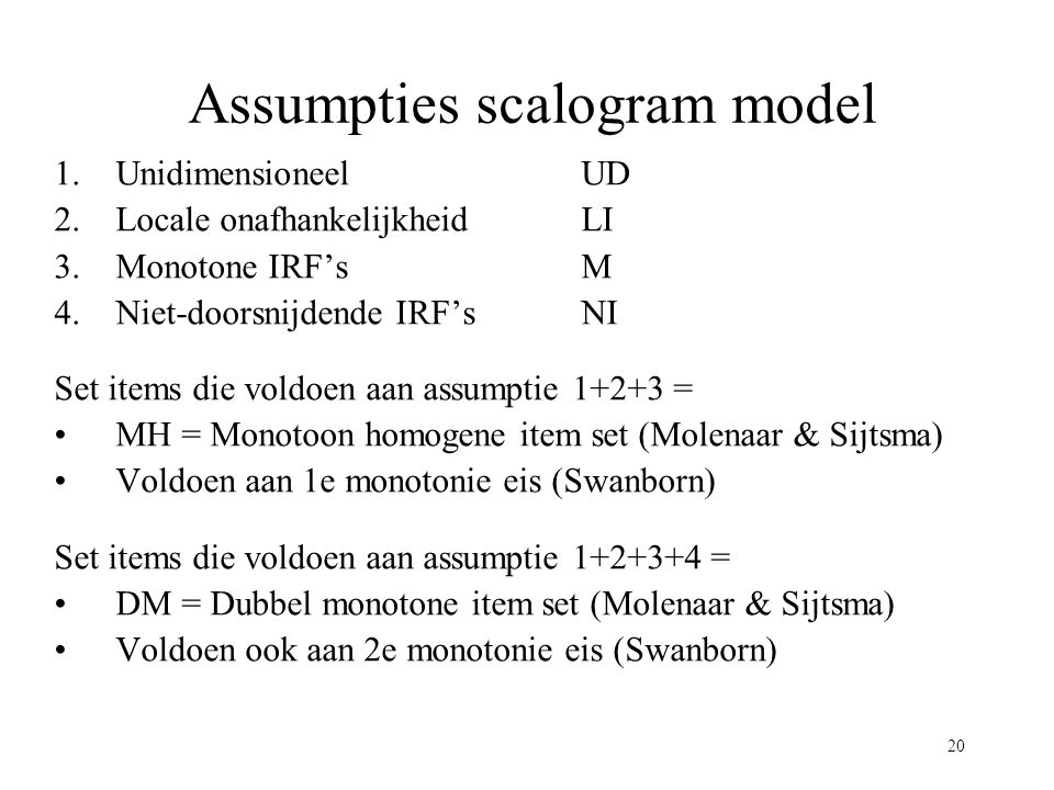 Assumpties scalogram model