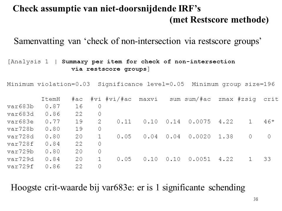 Check assumptie van niet-doorsnijdende IRF's (met Restscore methode)