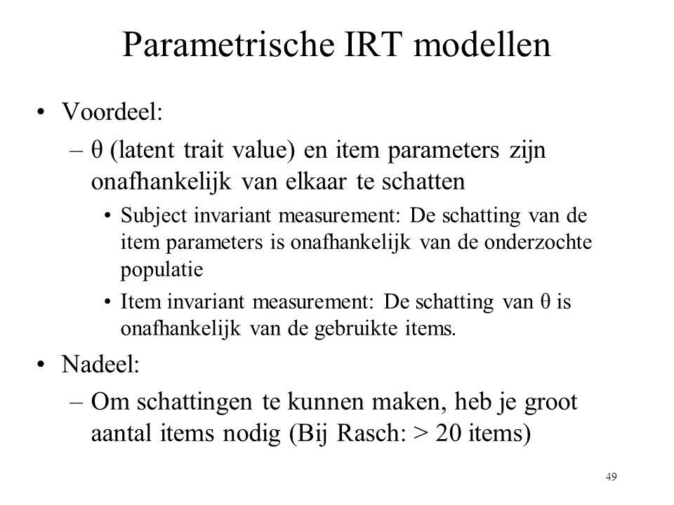 Parametrische IRT modellen