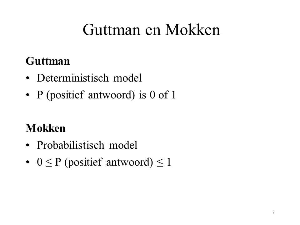 Guttman en Mokken Guttman Deterministisch model