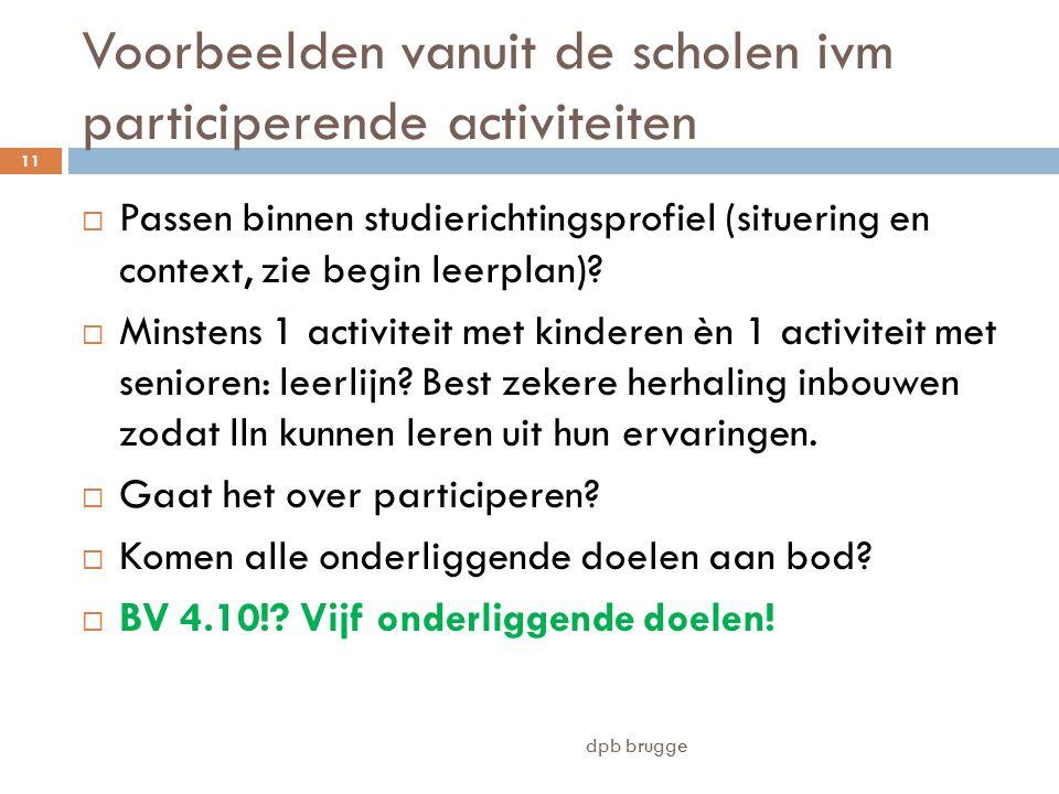 Voorbeelden vanuit de scholen ivm participerende activiteiten