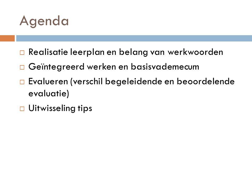 Agenda Realisatie leerplan en belang van werkwoorden