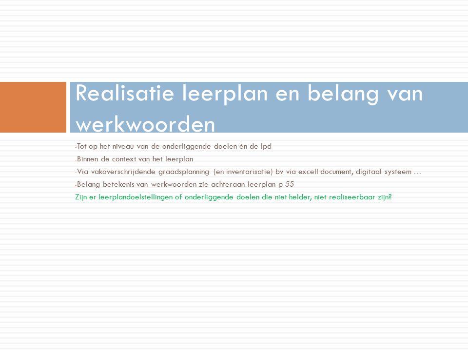 Realisatie leerplan en belang van werkwoorden