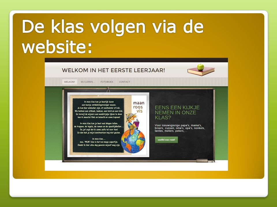 De klas volgen via de website: