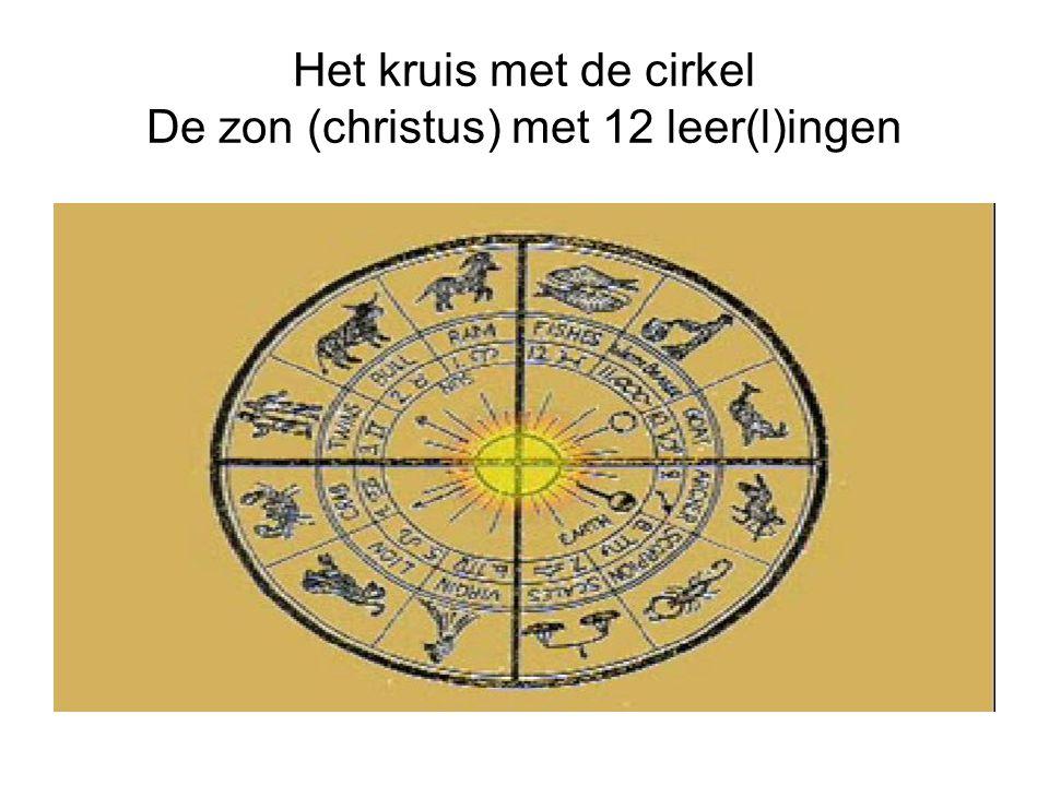 Het kruis met de cirkel De zon (christus) met 12 leer(l)ingen