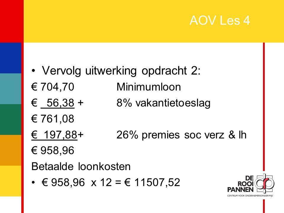 AOV Les 4 Vervolg uitwerking opdracht 2: € 704,70 Minimumloon