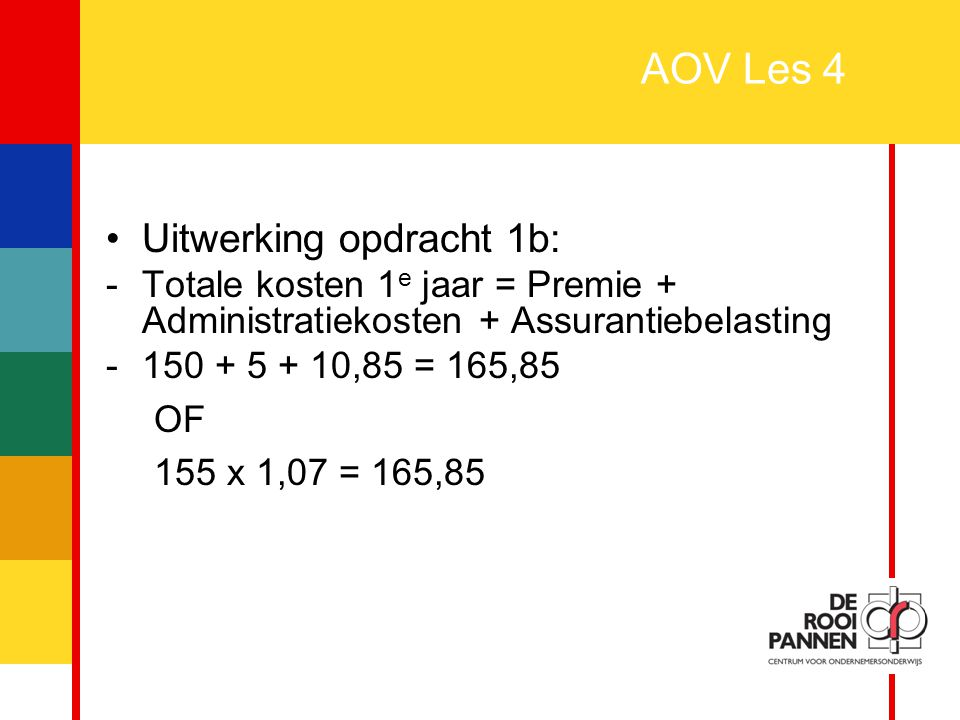 AOV Les 4 Uitwerking opdracht 1b: