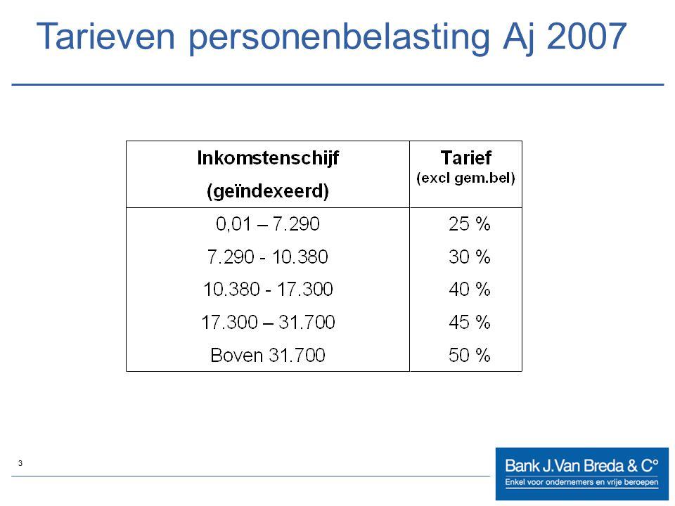 Tarieven personenbelasting Aj 2007