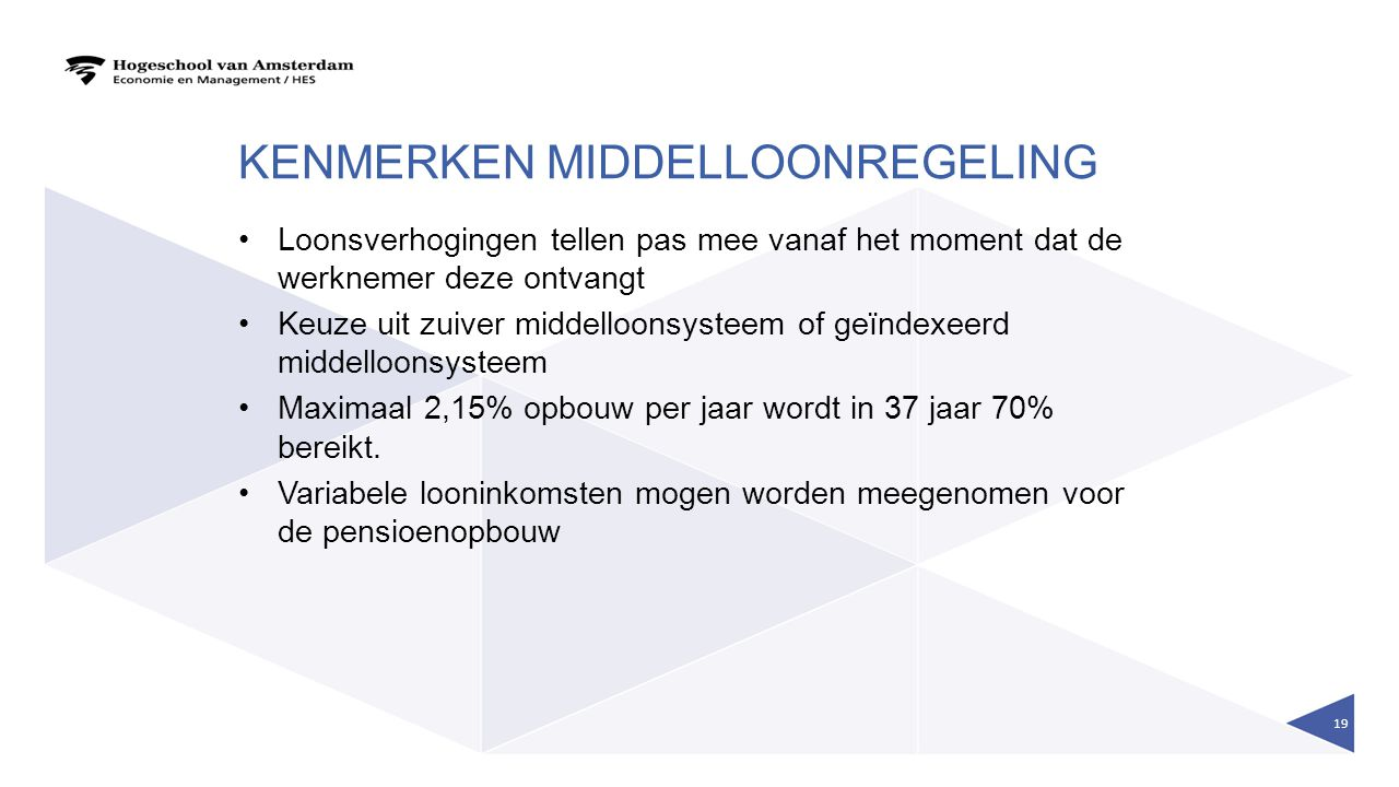 Kenmerken middelloonregeling