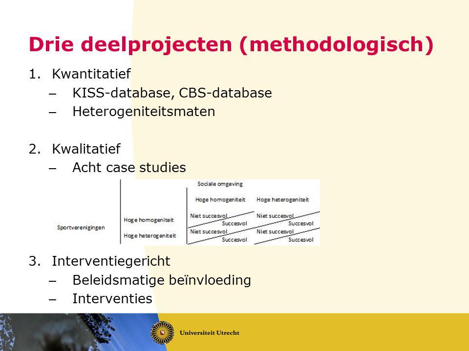 Drie deelprojecten (methodologisch)