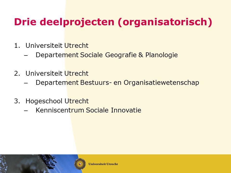 Drie deelprojecten (organisatorisch)