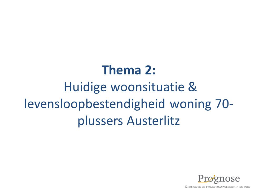 Thema 2: Huidige woonsituatie & levensloopbestendigheid woning 70-plussers Austerlitz