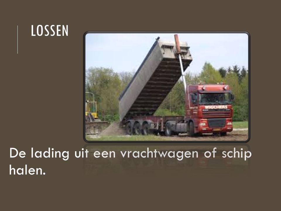 lossen De lading uit een vrachtwagen of schip halen.