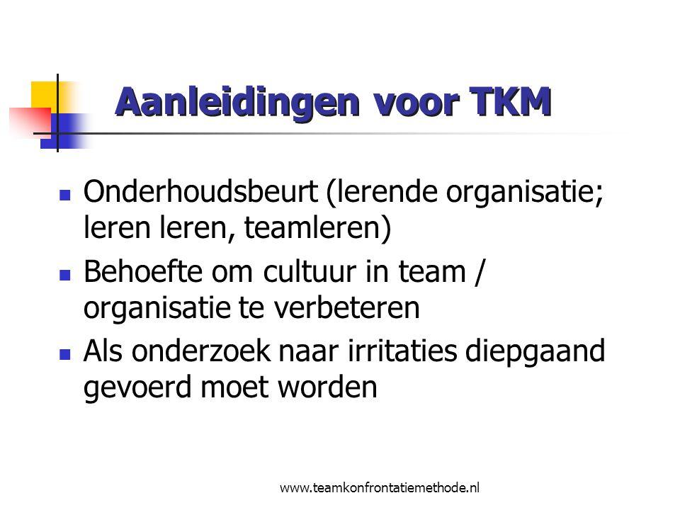 Aanleidingen voor TKM Onderhoudsbeurt (lerende organisatie; leren leren, teamleren) Behoefte om cultuur in team / organisatie te verbeteren.