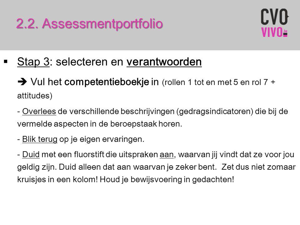 2.2. Assessmentportfolio Stap 3: selecteren en verantwoorden