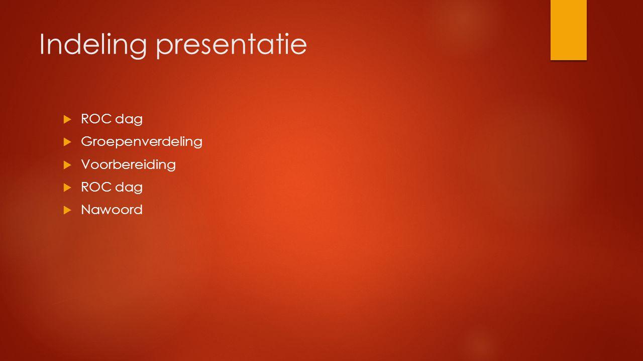 Indeling presentatie ROC dag Groepenverdeling Voorbereiding Nawoord