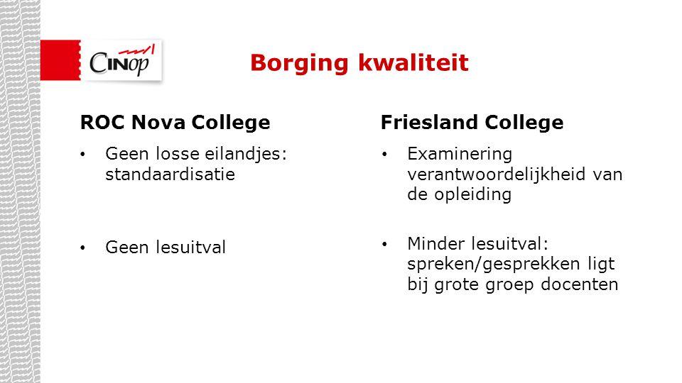 Borging kwaliteit ROC Nova College Friesland College