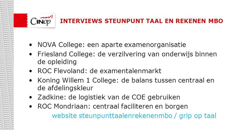 INTERVIEWS STEUNPUNT TAAL EN REKENEN MBO