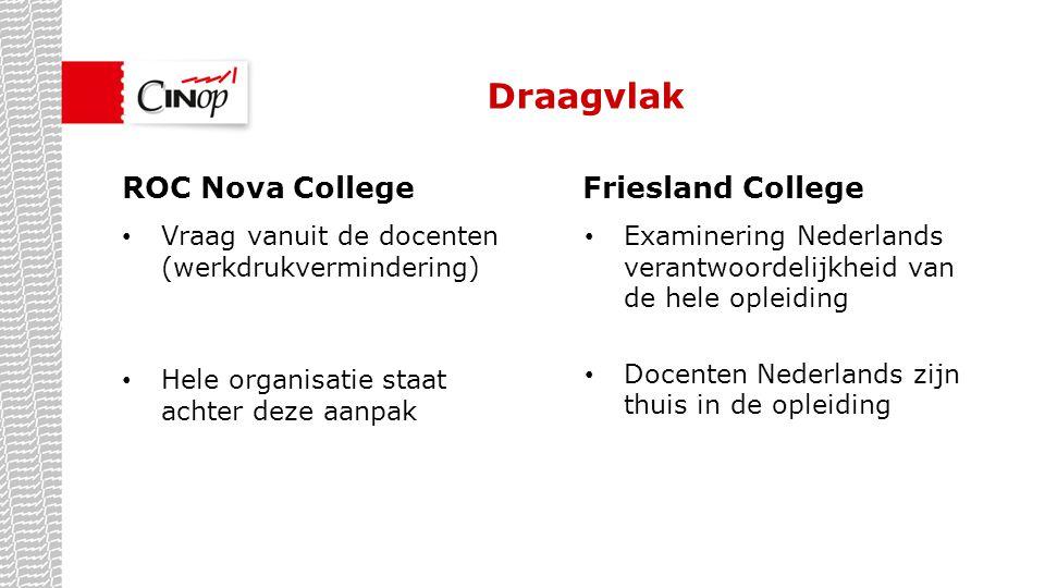 Draagvlak ROC Nova College Friesland College