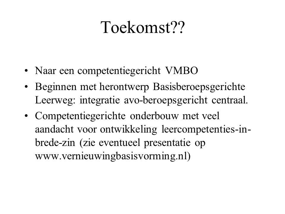 Toekomst Naar een competentiegericht VMBO
