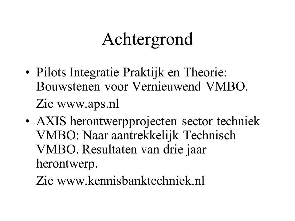 Achtergrond Pilots Integratie Praktijk en Theorie: Bouwstenen voor Vernieuwend VMBO. Zie www.aps.nl.