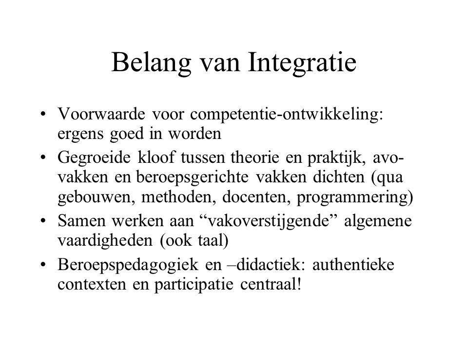 Belang van Integratie Voorwaarde voor competentie-ontwikkeling: ergens goed in worden.
