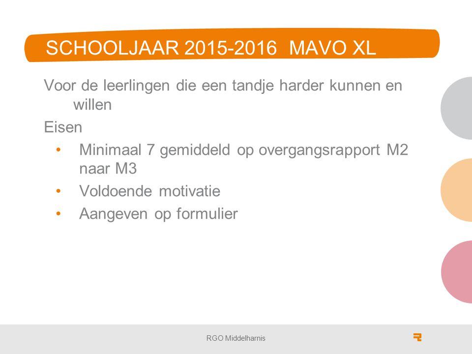 SCHOOLJAAR 2015-2016 MAVO XL Voor de leerlingen die een tandje harder kunnen en willen. Eisen. Minimaal 7 gemiddeld op overgangsrapport M2 naar M3.