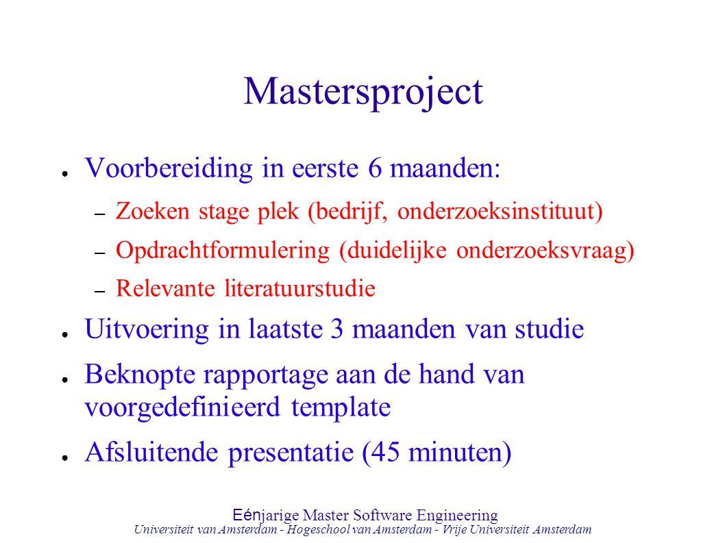 Mastersproject Voorbereiding in eerste 6 maanden: