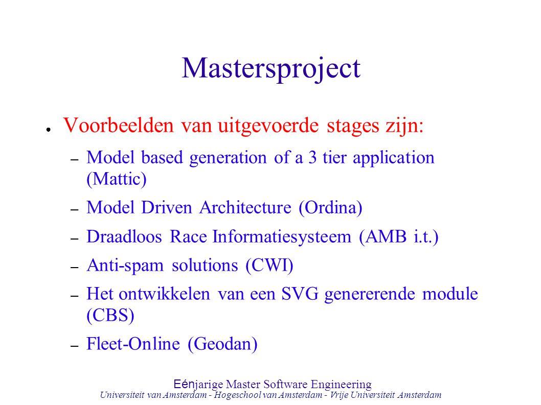 Mastersproject Voorbeelden van uitgevoerde stages zijn:
