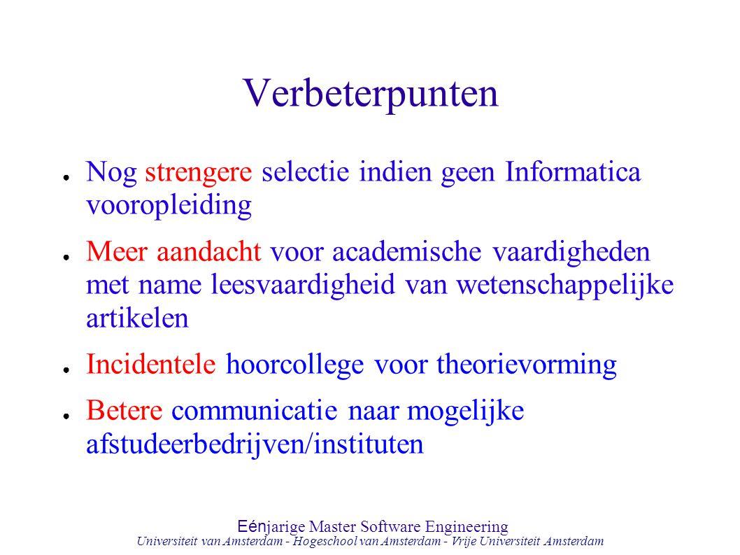 Verbeterpunten Nog strengere selectie indien geen Informatica vooropleiding.