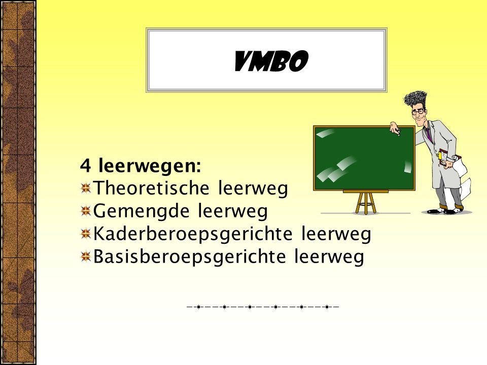 Vmbo 4 leerwegen: Theoretische leerweg Gemengde leerweg