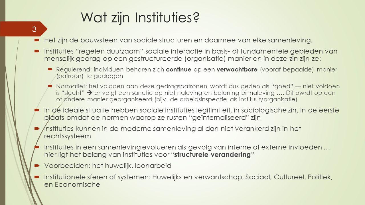 Wat zijn Instituties Het zijn de bouwsteen van sociale structuren en daarmee van elke samenleving.