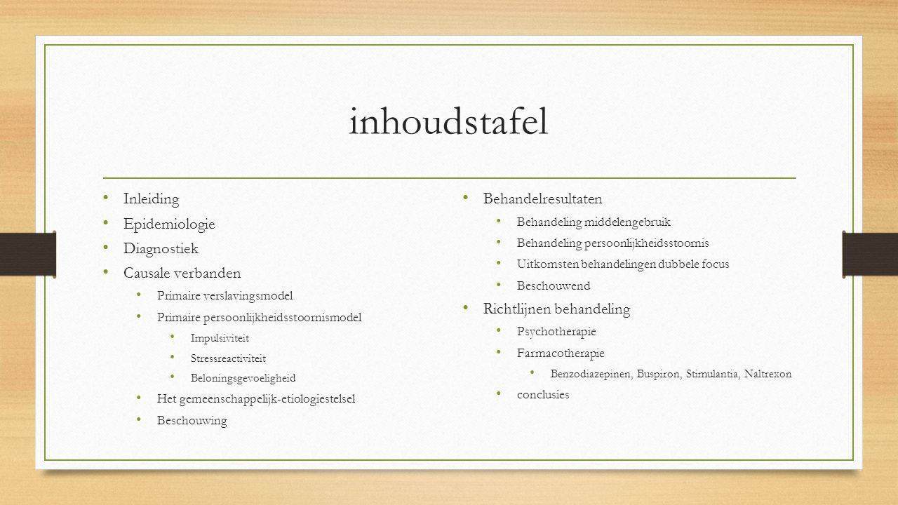 inhoudstafel Inleiding Epidemiologie Diagnostiek Causale verbanden