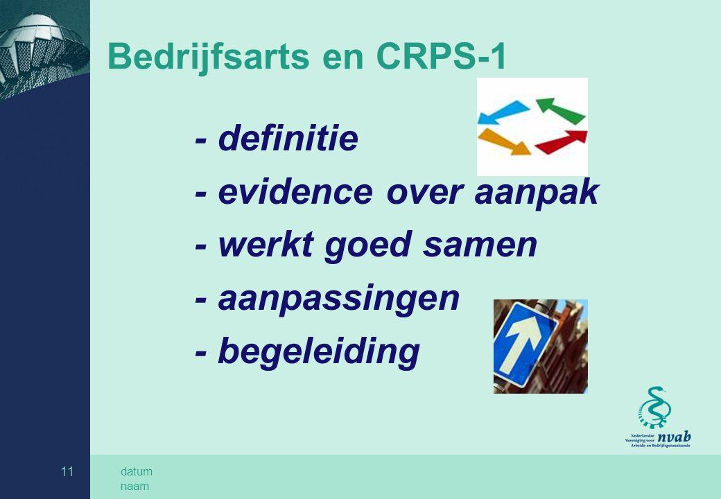 Bedrijfsarts en CRPS-1 - evidence over aanpak - werkt goed samen