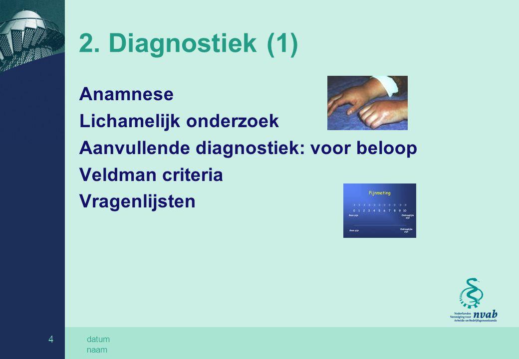 2. Diagnostiek (1) Anamnese Lichamelijk onderzoek
