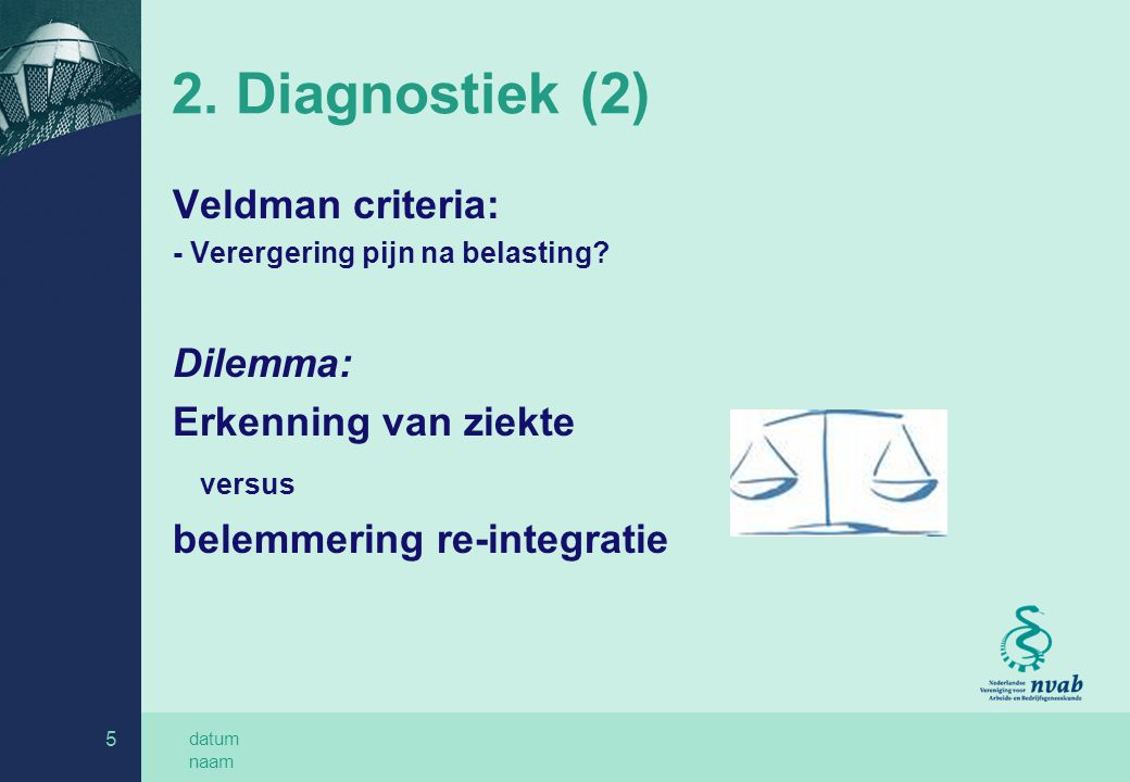 2. Diagnostiek (2) Veldman criteria: Dilemma: Erkenning van ziekte