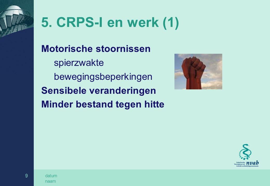5. CRPS-I en werk (1) Motorische stoornissen spierzwakte