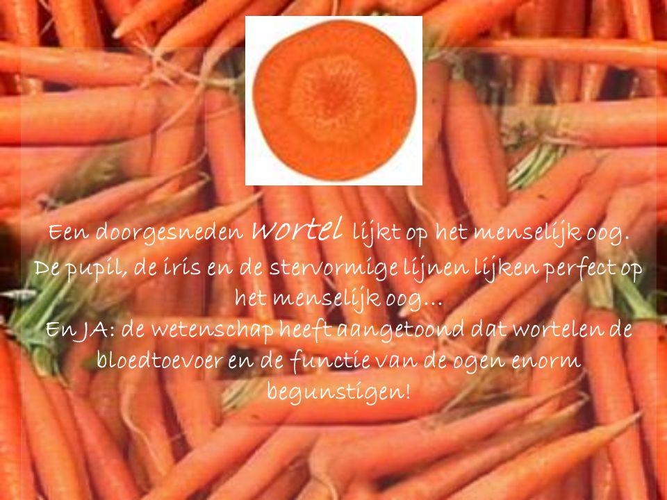 Een doorgesneden wortel lijkt op het menselijk oog.