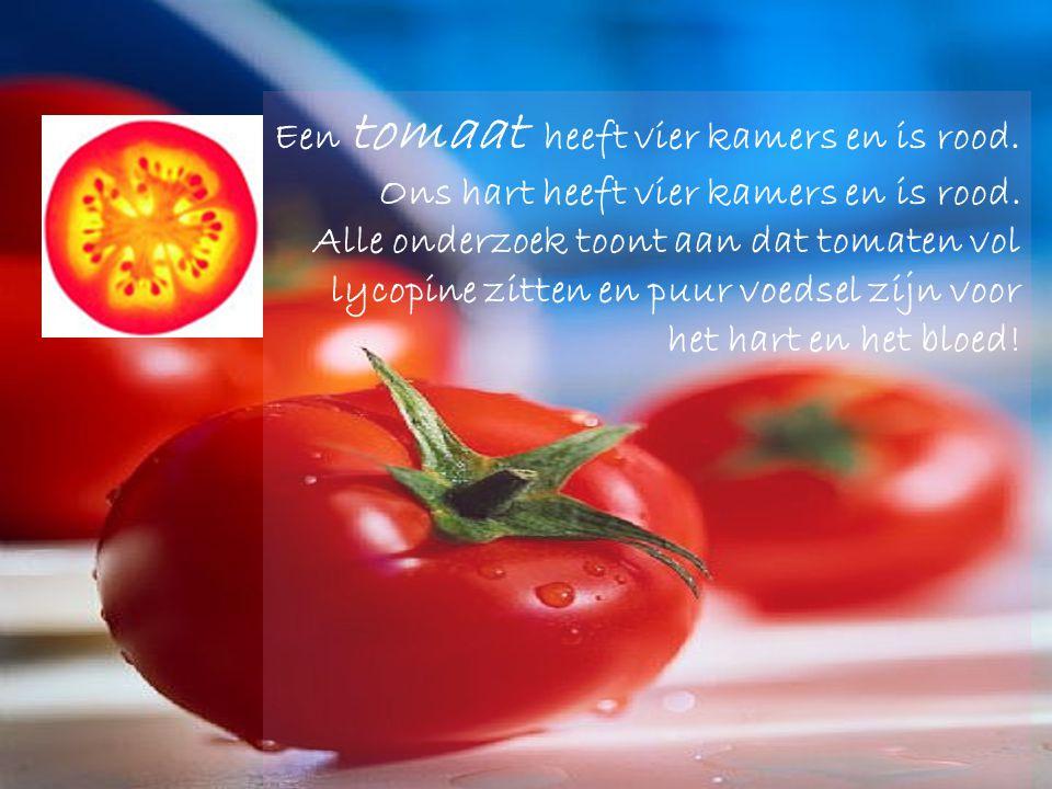 Een tomaat heeft vier kamers en is rood.