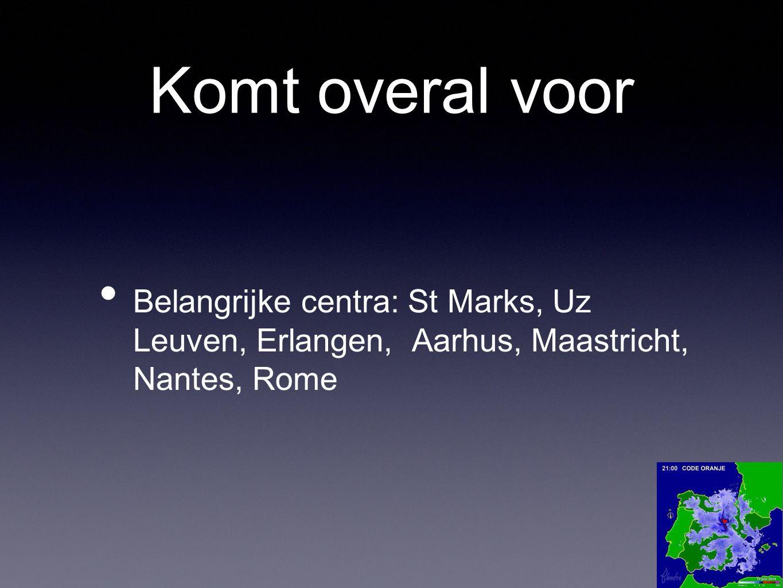 Komt overal voor Belangrijke centra: St Marks, Uz Leuven, Erlangen, Aarhus, Maastricht, Nantes, Rome.