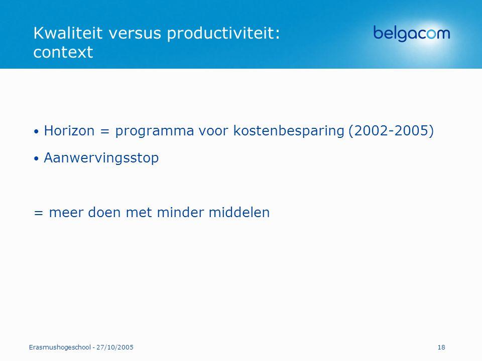 Kwaliteit versus productiviteit: context