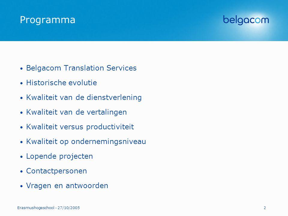 Programma Belgacom Translation Services Historische evolutie