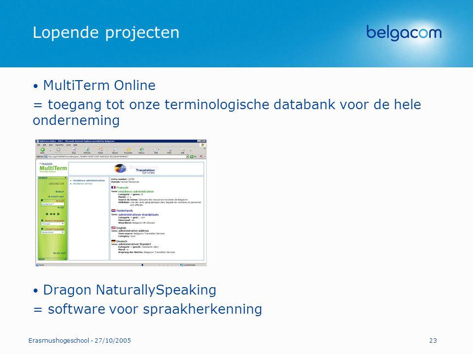 Lopende projecten MultiTerm Online
