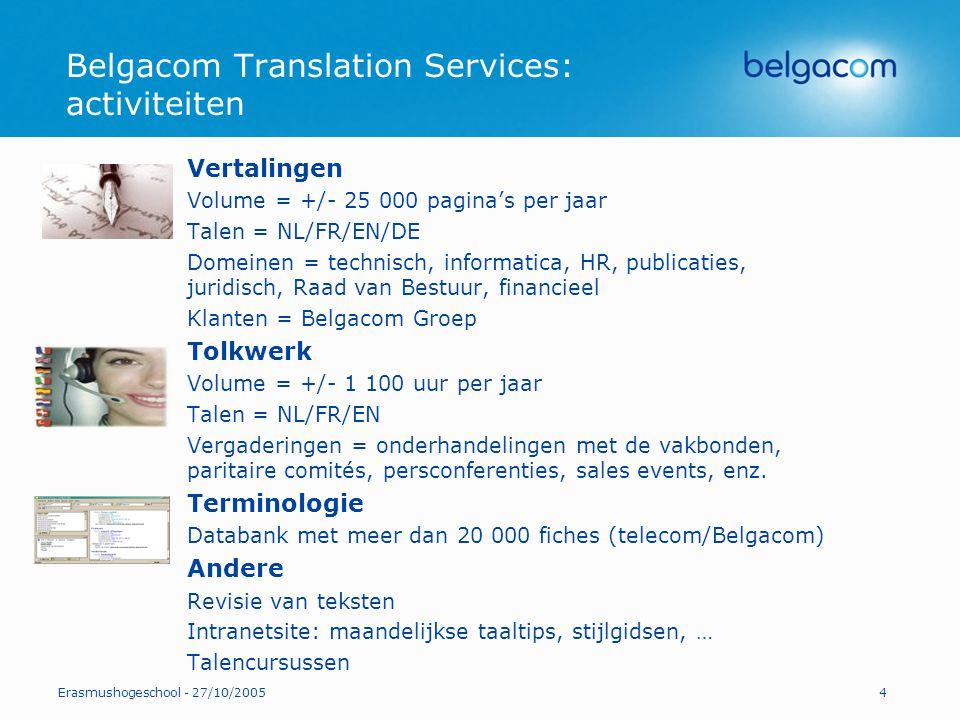 Belgacom Translation Services: activiteiten