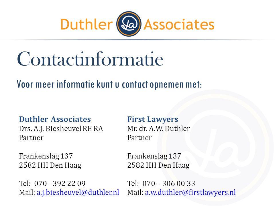 Contactinformatie Voor meer informatie kunt u contact opnemen met: Duthler Associates. Drs. A.J. Biesheuvel RE RA.