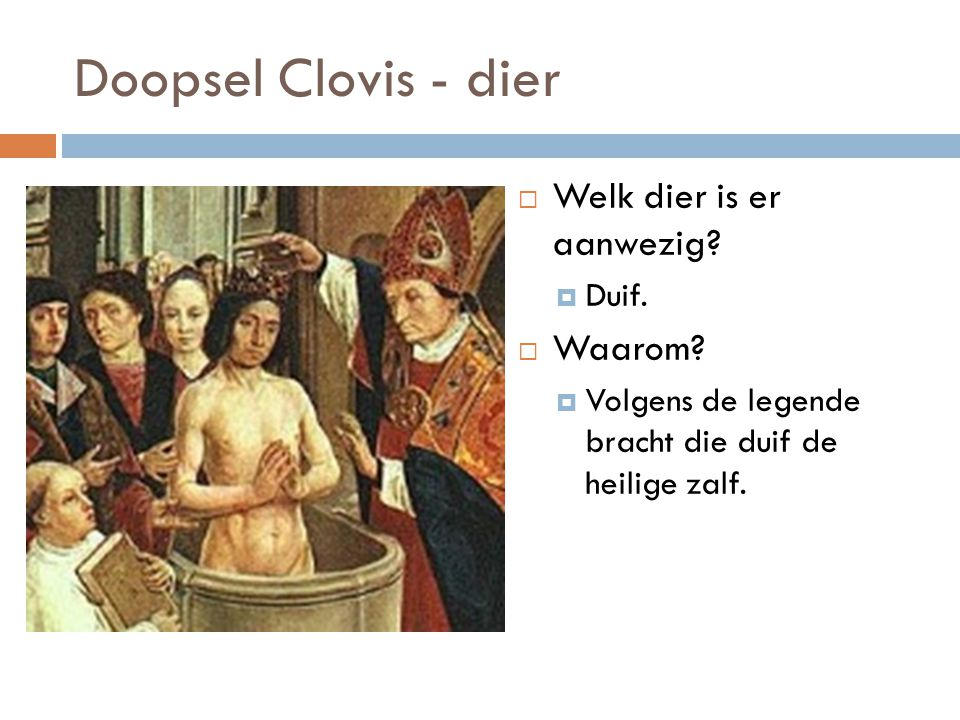 Doopsel Clovis - dier Welk dier is er aanwezig Waarom Duif.