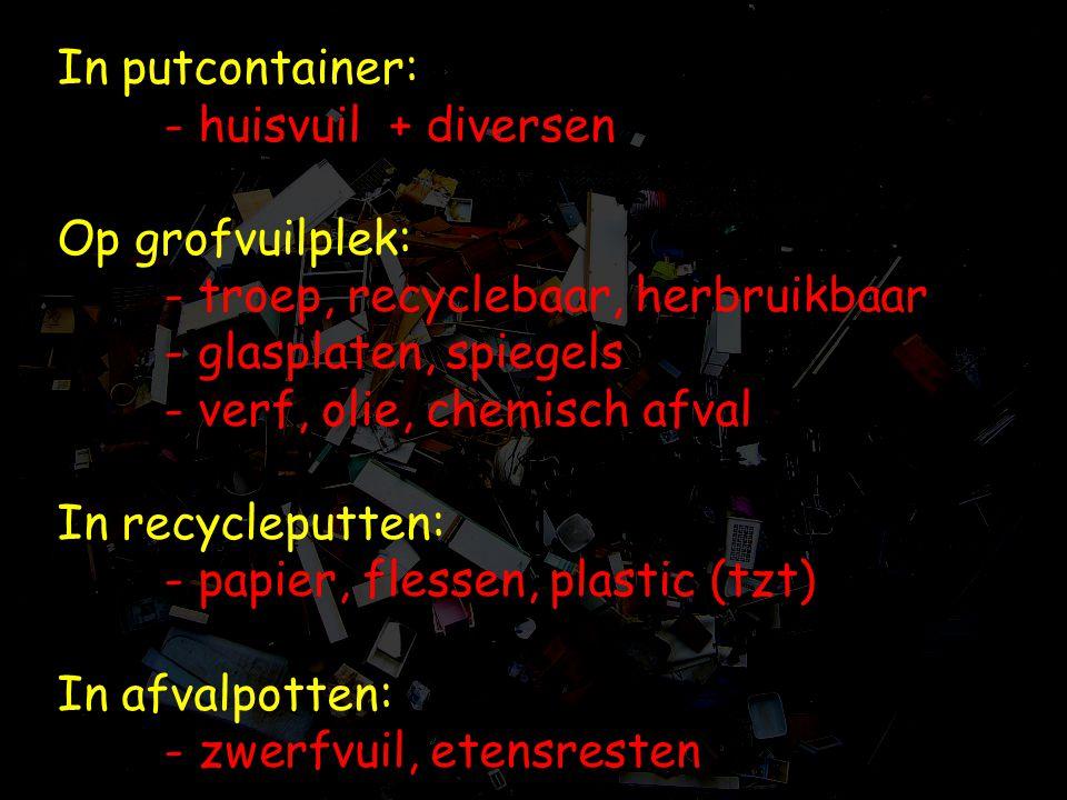 In putcontainer:. - huisvuil + diversen Op grofvuilplek: