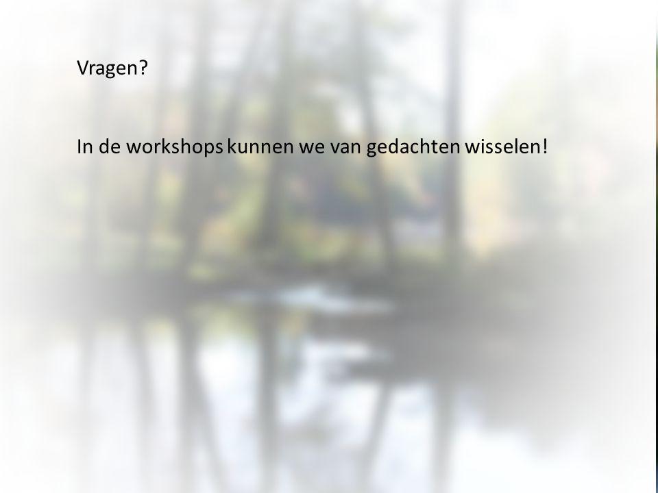 Vragen In de workshops kunnen we van gedachten wisselen!