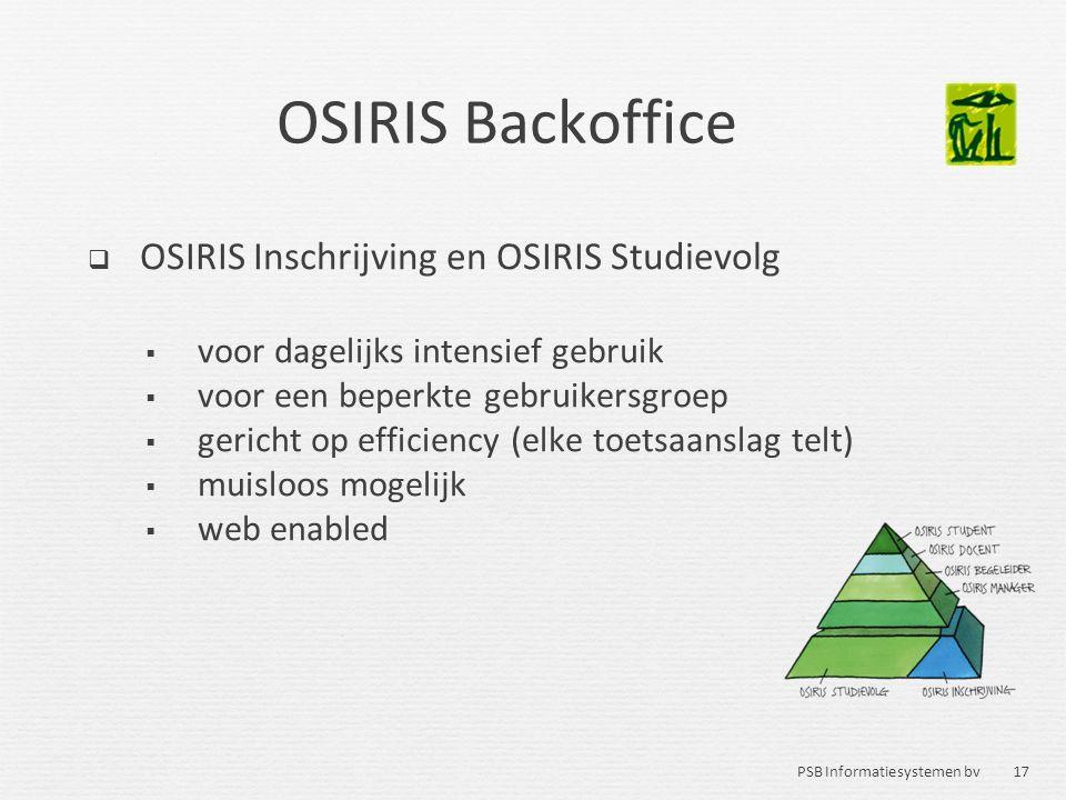 OSIRIS Backoffice OSIRIS Inschrijving en OSIRIS Studievolg